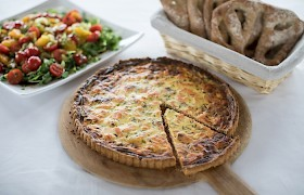 Salmon quiche lunch
