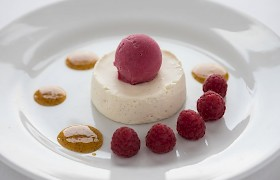 Blairgowrie raspberry sorbet with white chocolate mousse