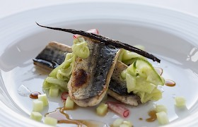 Grilled Loch Scavaig mackeral with blood orange balsamic oil